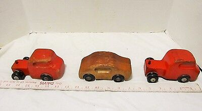 Vintage Wooden Toy Car by Creative & 2 Orange Tow Trucks LQQK!