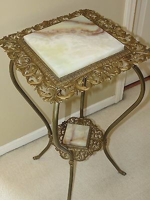Antique Victorian 2 Tier Ornate Brass & Marble Fern Plant Stand w/ Cabriole Legs