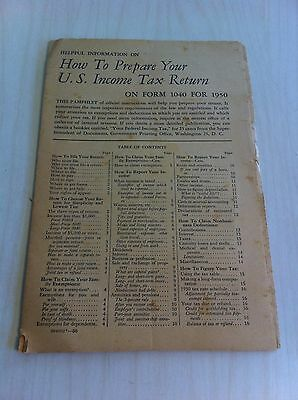 Vintage How To Prepare Your U.S. Income Tax Return on Form 1040 for 1950 Booklet