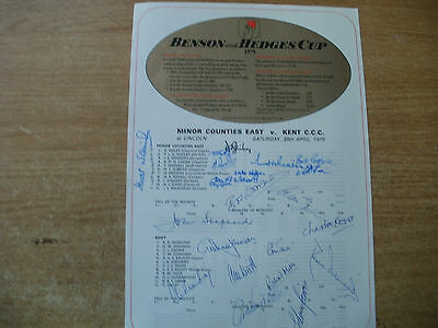 Signed Scorecard-Kent V Minor Counties East 1979