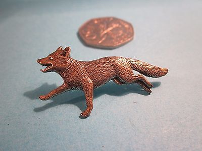 Pewter Pin Badge. Fox. Signed AR Brown.