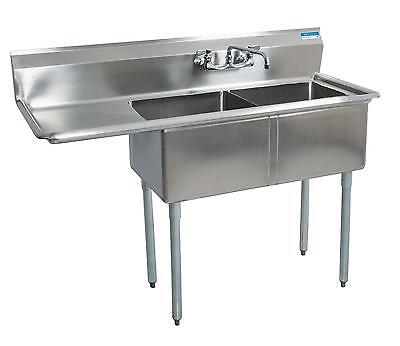 BK Resources Two Compartment Stainless Sink w/ 16x20 x12D Bowls w/ Dboard