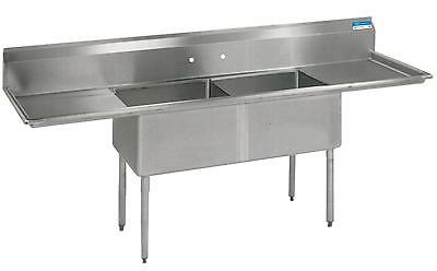 "BK Resources Two Compartment S/s Sink 16""x20""x12""D Bowls w/ 2 Drainboards - BKS-"
