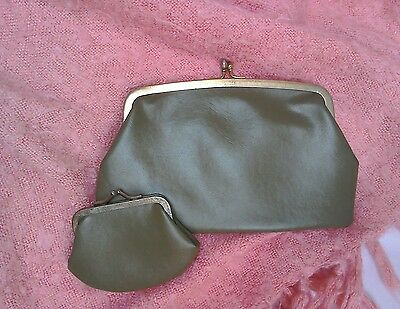 True vintage beautiful 50/60's clutch with matching purse green clip fastening