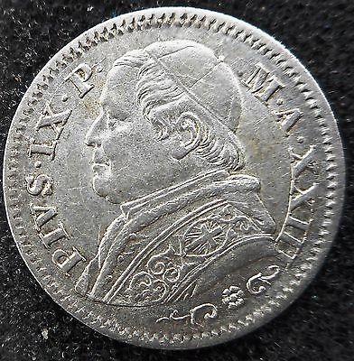 PAPAL STATES - Silver 10 Soldi 1868R (2.5g/18.6mm/nice coin) ... (3229)