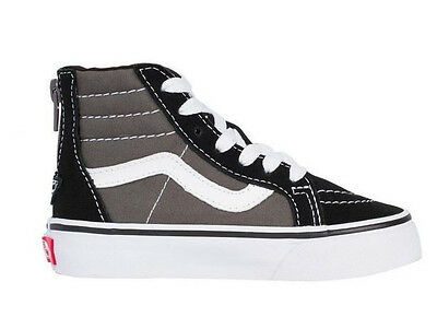 234cf970f9 Vans SK8 HI ZIP Boys Black Charcoal Grey Suede Lace Up High Top Kids Shoes