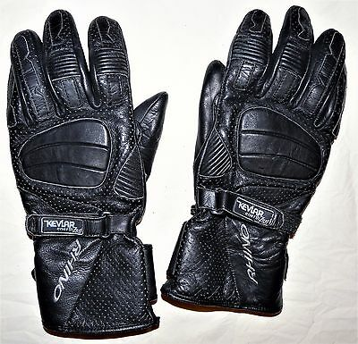 Mens Black Leather Motorcycle Gloves  Xl 'rhino' With 'kevlar'  Size: Xl / 11 Uk