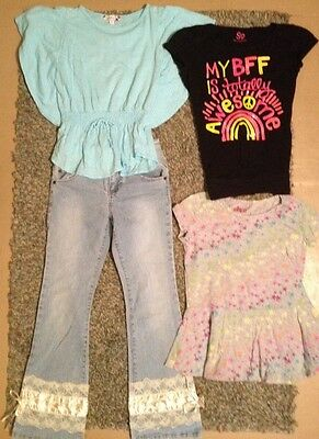 LOT Size 10 Girls Jolt Jeans Tops So Cute GUC