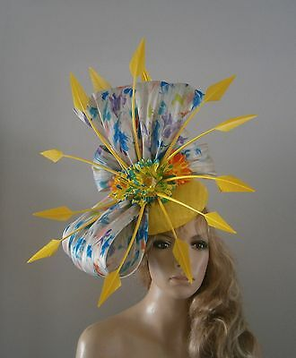 Yellow/blue/purple/lime/fascinator/percher/hat/vintage/ascot/wedding/bride