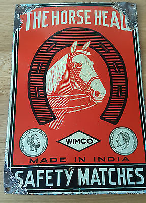 """Rare 1940's The Horse Head """" Safety Matches"""" Enamel Sign"""