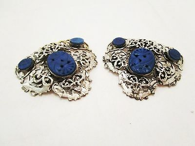 Antique Art Deco Silver Tone Carved Lapis Lazuli Dress Cip Pair