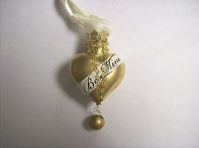 """Bethany Lowe """"Be Mine Heart"""" (Gold) Glass Heart Ornament with Ribbon (LG3375)"""