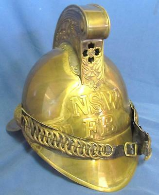 Amazing Collectable Full Size Nsw Fb Brass Fire Helmet.