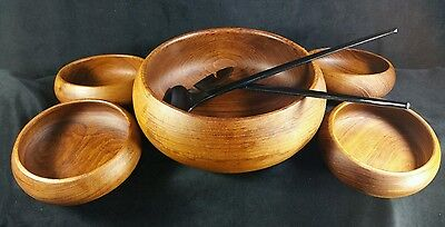 Set of 5 Thailand Teak Salad Bowls By Good Wood & 1 Pair IKEA Salad Tongs EXC