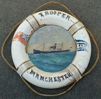 Early Nautical Manchester Trooper Ship Picture Life Ring Boat Hand Painted Art