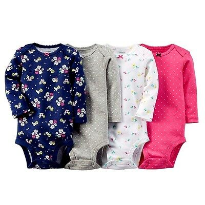 Carter's Baby Girl 4Pk Bodysuits Set Cotton L/s Top Shirts 12M 18M 24M Clothes