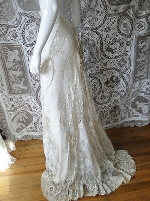 Circa 1890-1900, Elaborate Ladies Skirt W/whitework, Valencienne,roses