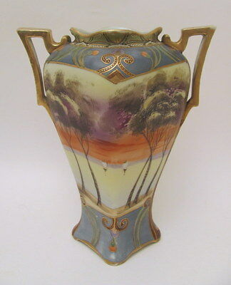 Excellent Hand Painted Antique Nippon Scenic Vase Early 1900s