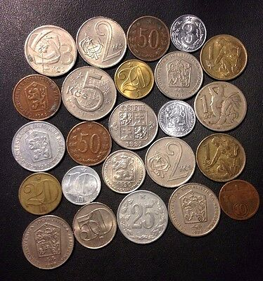 Old Czechoslovakia Coin Lot - 1922-Cold War - 24 Great Coins - Lot #J14