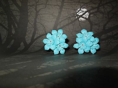 Hand-made Vintage 1950's Blue Plastic Flower Cluster Clip On Earrings Brass