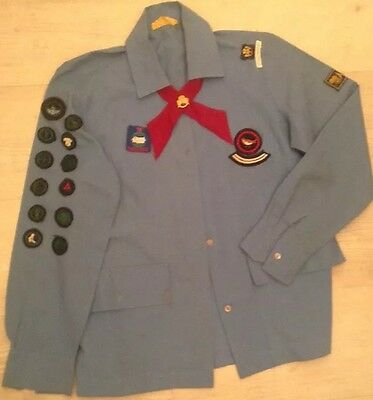 1970 Genuine Vintage Girl Guide Shirt With 18 Badges, Red Tie & Promise Badge