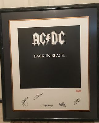 ACDC Hand Signed Back In Black AC/DC Lithograph COA Autograph Framed Litho