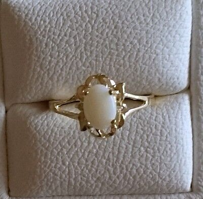 Brand New Genuine 9K Solid Yellow Gold Ring Set with Natural Opal & Diamonds