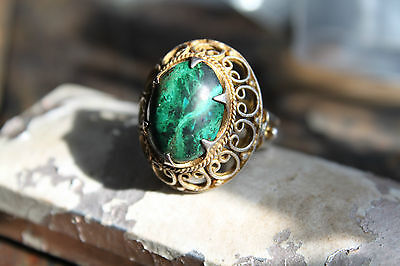 Victorian Vintage Gold On Sterling Malachite Cabochon Filigree Cocktail Ring 7.5