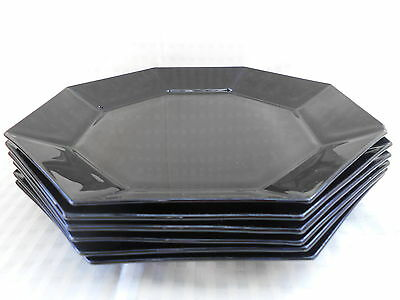 Six Vintage Arcopal France Black Glass Octagonal  Bread and Butter Plates 18cm