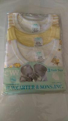 *New* H.W Carter Baby Tank Tops 0-3 Months Yellow/White PK3 *Free Postage*