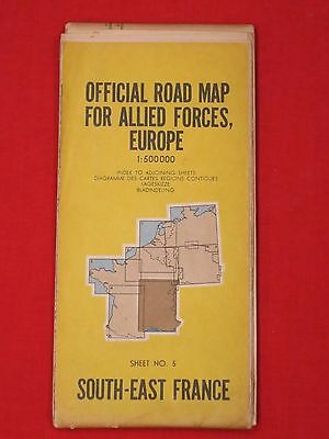 """Official Road Map For Allied Forces, Europe / South -East France / 34 X 45"""""""