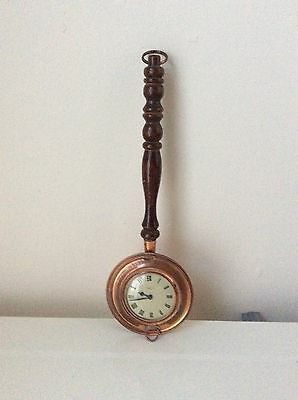 "Vintage ""Smiths Empire"" Copper Bed Warmer Wind-Up Clock A RemembranceOf Old Time"