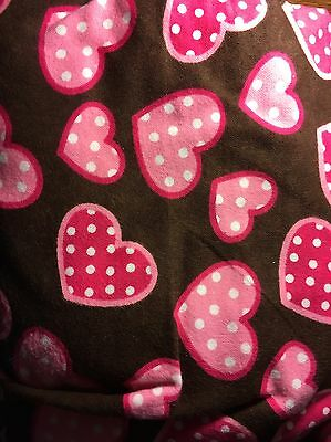Hearts On Soft Brown Flannel Stethoscope Cover - New Handmade - FREE S&H