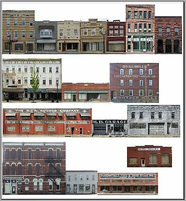 #400 HO scale 17 background buildings COMMERCIAL FRONTS WITHOUT FOAM CORE