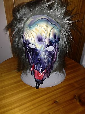 Vintage Halloween Adult Rubber Mask Full Wig Ugly Scarey TOPSTONE