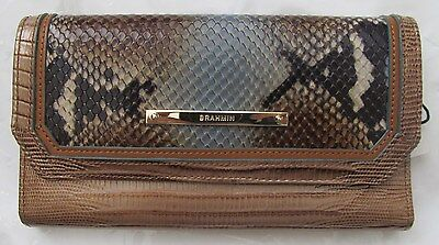Brahmin Brown Cortes reptile embossed Leather Soft Checkbook Walle