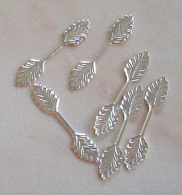 100 large (35mm) silver plated leaf bails, findings for jewellery making crafts