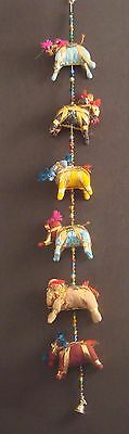 Handcrafted Rajasthan India Fabric Elephant String with Beads - 31""