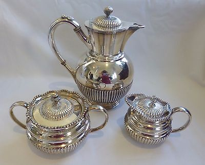 collectable EPBM James Dixon & Sons Silver Plate Set 3Piece Pot, Bowl and Jug
