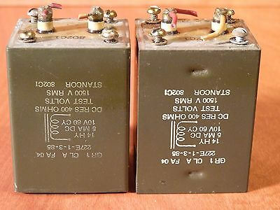 Stancor Filter Choke Pair (2) Tube Preamp, Amp, Transformer, 14H @ 5Ma Engraved