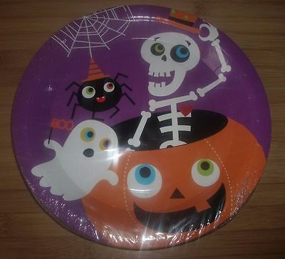 12 Pack Large Party Paper Plates  - Ghost, Pumpkin, Skeleton, Spider Theme