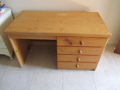 Large TIMBER/MDF OFFICE HOME STUDY DESK 4 DRAWER in good condition