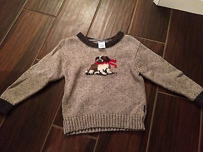 Boys Baby Gap Gray Dog Sweater Size 18-24 Months