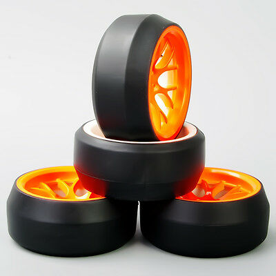 DHO 1/10 Scale RC Speed 0 Degree Tires Tyre Orange Wheel 4PCS For HPI Drift Car