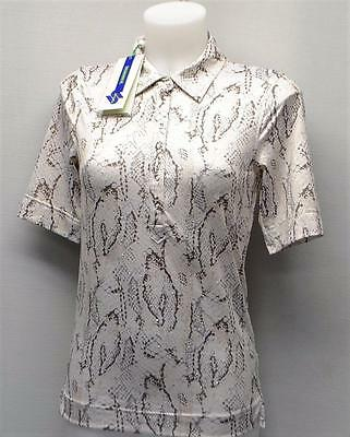 New Ladies Daily Sports short sleeve snake print polyester golf polo shirt XS