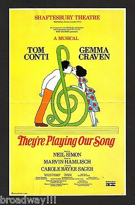 """Gemma Craven """"THEY'RE PLAYING OUR SONG"""" Tom Conti / Neil Simon 1980 London Flyer"""