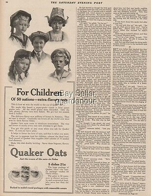 1922 Quaker Oats Oatmeal - Children of 50 Nations Kitchen Decor Breakfast Art Ad