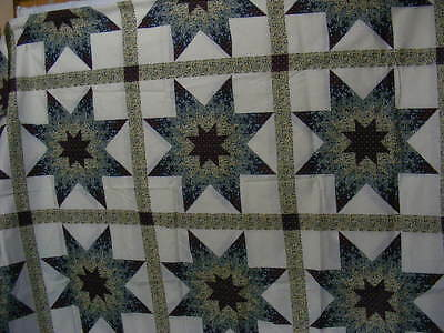 "Cheater Quilt Top Material By The Yard,90""wide,""Starlast Hunter Green/Burgundy"""