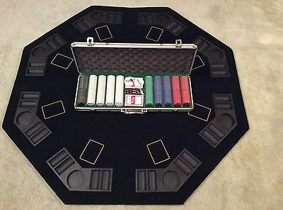 500 heavy weight poker chips and gaming table set hardly used