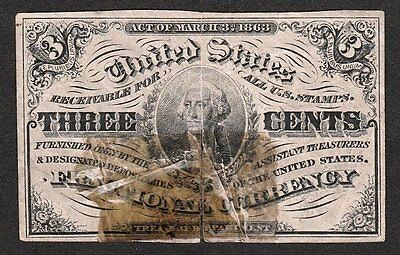 3 Cent FRACTIONAL CURRENCY~3rd Issue~FR 1226~Civil War~Washington